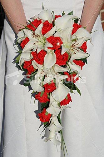 Amazoncom Vibrant White Red Rose Lily Cascading Bridal Wedding
