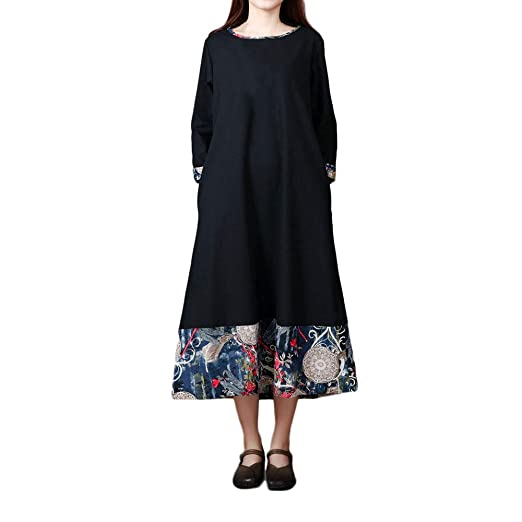 834a51a87a8d Women Plus Size Folk-Custom Skirt, Loose Long Sleeves Splicing Cotton and Linen  Dress
