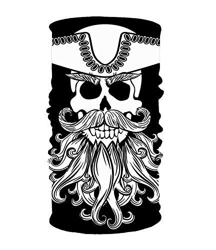 Funlery Happ Outdoor Headbands Bandana Magic Scarf Skull with Beard 16-in-1 Magic Scarf,Face Mask,Balaclava Bandana for Outdoor Sports,Eco-Friendly Breathable ()
