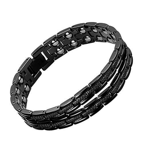 (iZion Magnetic Therapy Bracelet Pain Relief for Arthritis Stainless Steel Health Wristband Gift for Men Women with Free Link Removal Tool (8.1