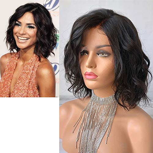 Chin Length Curly Wig - Cbwigs Glueless Short Bob Curly Human Hair Lace Front Wig with Frail Ends for Black Women 4.5 inch Deep Parting Loose Curly Chin-Length Wavy Bob Full Wigs Natural Color 150% Density (10 inch)