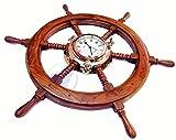 Premium Nautical Decor Ship Wheel | Brass Porthole Clock | Nagina International (30 Inches)