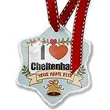 Add Your Own Custom Name, I Love Cheltenham, region:al South West England, England Christmas Ornament NEONBLOND