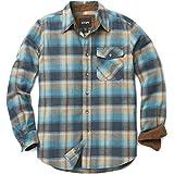 CQR CQ-HOF110-OCS_X-Large Men's Flannel Long Sleeved Button-Up Plaid 100% Cotton Brushed Shirt HOF110