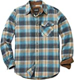 CQR Men's Flannel Long Sleeved Button-Up Plaid All-Cotton Brushed Shirt, Corduroy Lined(hof110) - Ocean Sand, X-Large