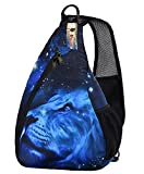 iColor Sling Chest Shoulder Bags Crossbody Backpack Rucksack Sports Multipurpose Daypack 15L with Phone/Bottle Sleeve Carrier for Women Men Kids Hiking Cycling Walking Dog Bicycle (Blue Lion)