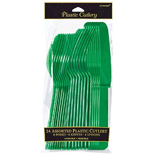 - Assorted Plastic Cutlery | Festive Green | Pack of 24| Party Supply