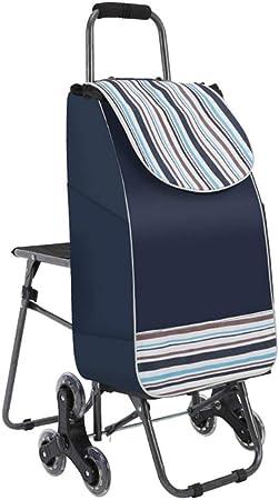 WeN Carrito para Compras Carrito Plegable Escalera Carrito de Viaje 6 PU Trolley para Ruedas con Asiento 33 x 20 x 90 cm (Color : Azul): Amazon.es: Hogar