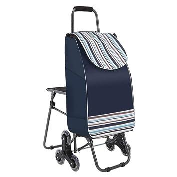 d3db8bc1b0f9b WeN Carrito para Compras Carrito Plegable Escalera Carrito de Viaje 6 PU  Trolley para Ruedas con Asiento 33 x 20 x 90 cm (Color   Azul)  Amazon.es   Hogar
