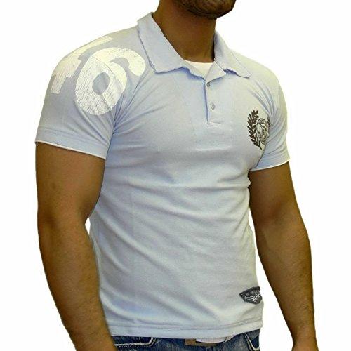 Rusty Neal Kurzarm Slim Fit Poloshirt Motiv Polo T-Shirt Schwarz 2757 Hemd NEU, Größe:S, Farbe:Blau