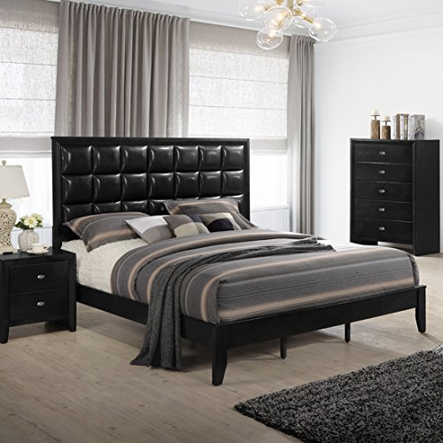 Roundhill Furniture B350PQDMN Gloria 350 Black Finish Wood Bed Room Set, Queen Bed, Dresser, Mirror, Night Stand