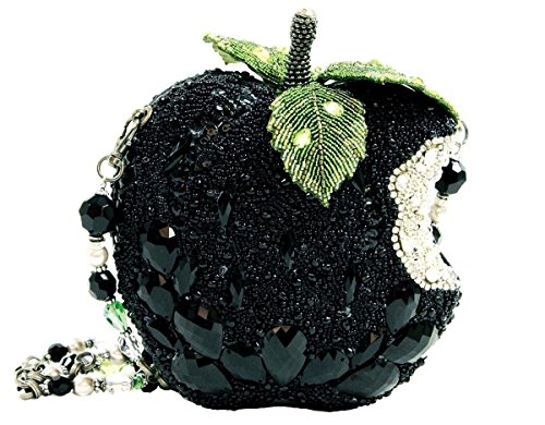 Crystal Jeweled Handbag - Mary Frances Wicked Black Apple Crystal Crystal Beaded Jeweled Handbag Shoulder Bag