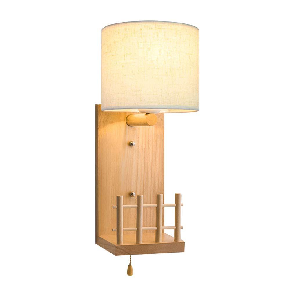 Modern Kind-Wandlampe Innen Holz und Textil Lampenschirm im Rund Wandleuchte Weiss E27 Wandlicht mit Schalter Ziehen für Schlafzimmer Jungen und Mädchen Kinderzimmer