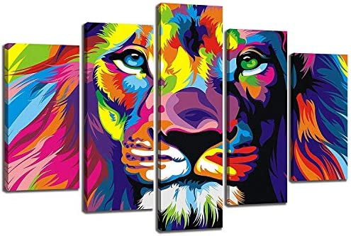 NAN Wind 5Pcs Colorful Animal Wall Art Lion Canvas Lion Painting Animal Oil Painting Pictures Art Print On The Canvas Stretched and Framed Ready to Hang Wall Art Creative Home Decorator