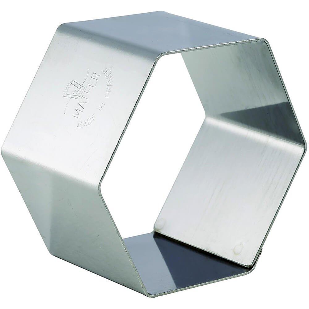 Matfer Bourgeat Stainless Steel Pastry/Dessert Ring Mold, Hexagon Shape, 2.37'', 4PK 375015