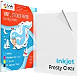 """Printable Vinyl Sticker Paper for Inkjet Printer - Frosty Clear - 15 Self-Adhesive Sheets - Waterproof Decal Paper - Standard Letter Size 8.5""""x11"""""""