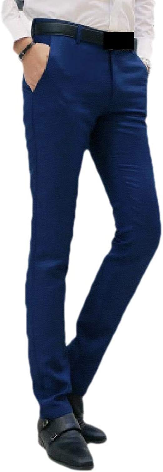Tootess Men's Basic Cotton Business Straight Relaxed Fit Slim-Fit Dress Pant