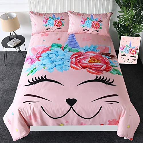 Sleepwish Pink Caticorn Bedding Cute Unicorn Cat Bedspread Watercolor Peony Bouquet Duvet Cover Set 3 Piece Kids Girls Cat Lover Gifts (Queen)