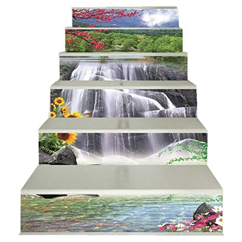 FLFK 3D Waterfall Flowers Landscape Stair Stickers PVC Waterproof Stair Riser Decals Wallpaper Wall Murals Home Decor 39.3