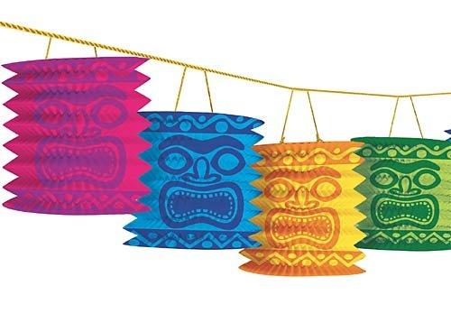 Hawaiian Summer Luau Beach Party Tiki Island Lantern Garland Decoration, Paper, 12 Feet - Lantern Garland