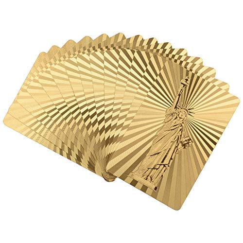 ONE250 Premium 54pcs/Pack 24K Gold Foil Plated Poker Waterproof Washable Foldable PVC Plastic Playing Cards (Statue of Liberty) (Original Design Of The Statue Of Liberty)