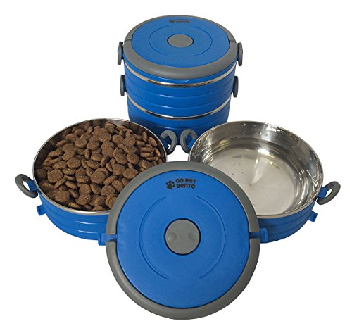 Healthy Human Go Pet Bento - Premium Stainless Steel Travel Bowls for Pets - Reusable Portable Food and Water Bowl Set for Dogs or Cats - 3 Size Varieties and 3 Color Options Available - Small Blue
