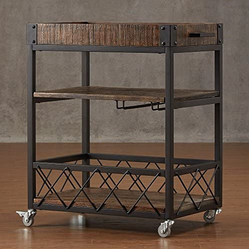 TRIBECCA HOME Myra Rustic Mobile Kitchen Bar Serving Wine Cart Bistre Brown