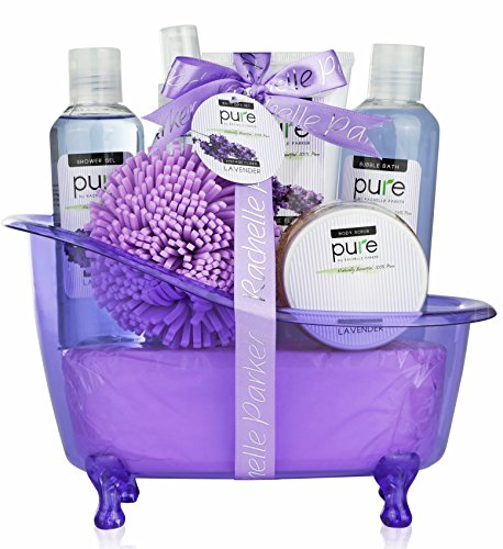 Lavender-Essential-Oils-Aromatherapy-Bath-Body-Spa-Gift-Basket-Lavender-Spa-Basket-makes-best-Gifts-for-Women-TeensGreat-Gifts-for-Mom-Birthday-Gifts-Thank-You-Gifts