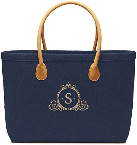 Felt Bag Buyer Navy Velourhenkel Marine Monogram 4 - Navy-silber, 47.5 X 30 X10 Cm Navy-gold