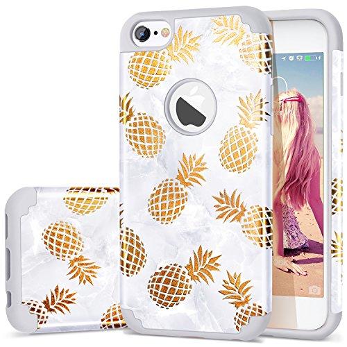 iPhone 6S Case,iPhone 6 Case Pineapple,Fingic Golden Pineapple&Grey Marble Desin Case Hard PC&Soft Silicone Skin Cover for iPhone 6/6S 4.7,Golden Pineapple/Grey