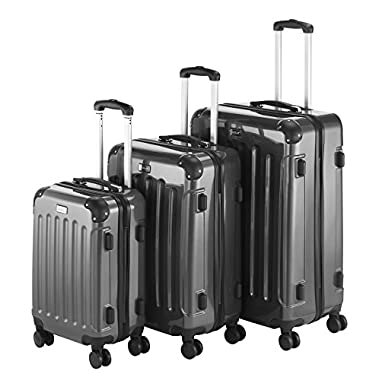 VonHaus 3 Piece Extra Strong ABS TSA Luggage Set - Grey