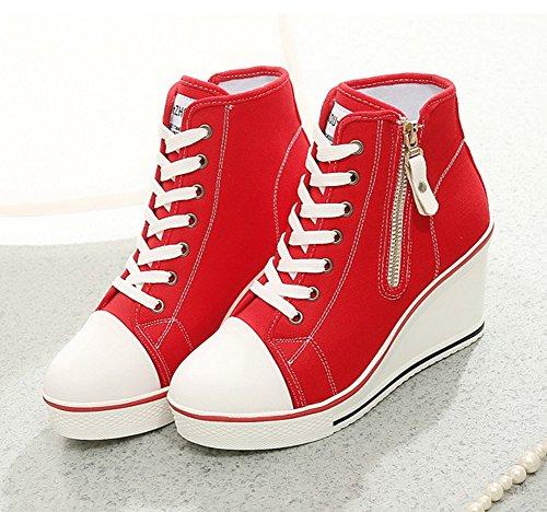 otoño de Cordones Primavera Tacón de Zapatos Mujer con Casual de para tamaño Color Zapatos Deporte cuña Caminar Cremallera de Zapatos Exteriores Lona 35 de de Zapatillas Rojo dpvUqA