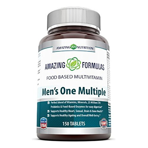 Amazing Formulas Men's One Multiple 150 Tablets – Perfect blend of vitamins, minerals, 25 million CFU probiotics & food-based enzymes for easy digestion, supports healthy heart, sexual,