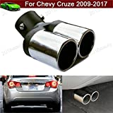 Car Truck Modification Double Outlets Chrome Stainless Steel Exhaust Rear Tail Pipe Tip Tailpipe Muffler Pretector Custom Fit For Chevrolet Chevy Cruze 2009 2010 2011 2012 2013 2014 2015 2016 2017 2018