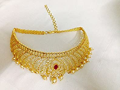 9926be320 Buy Zealondeal Golden 1 g Gold-Plated CZ Choker for Women Online at ...