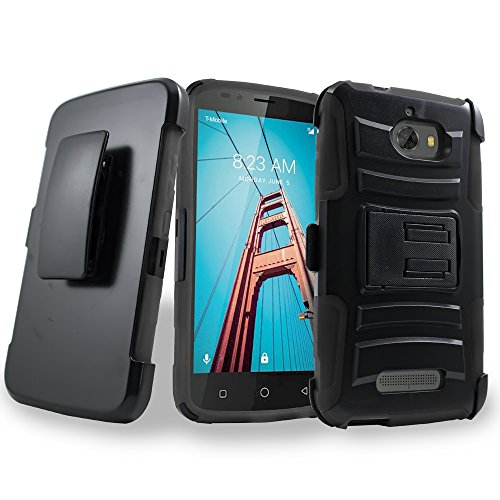 Coolpad Defiant Case, Mstechcorp Rugged Holster Dual Layer Case [Kickstand] [Belt Swivel Clip] For Coolpad Defiant (Black)