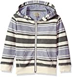 Lucky Brand Boys' Big Long Sleeve Stripe French Terry Full Zip Hoodie Birch, Medium (10/12)