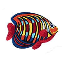 Newrara Colorful Fish Area Rugs Hand-embroidered Floor Mats Personalized Custom Carpets Colorful Fish Imprint Anti-slip Mat Pastoral Style Carpet