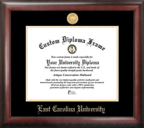 "Campus Images NC995GED ""East Carolina University Embossed Diploma"" Frame, 11"" x 14"", Gold from Campus Images"