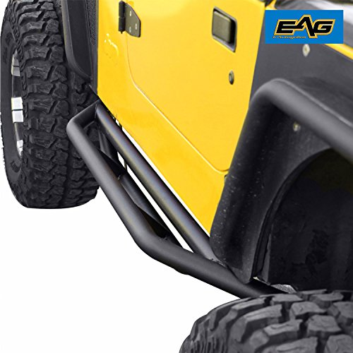 Yj Rock (EAG Tubular Nerf Bars Side Step Armor Textured Black Rock Guards for 87-06 Jeep Wrangler YJ/TJ)