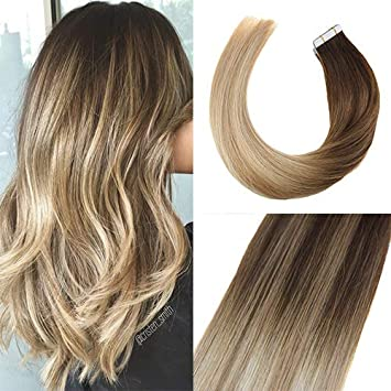 Sunny 14inch Tape In Hair Extensions Blonde Ombre Dark Brown To