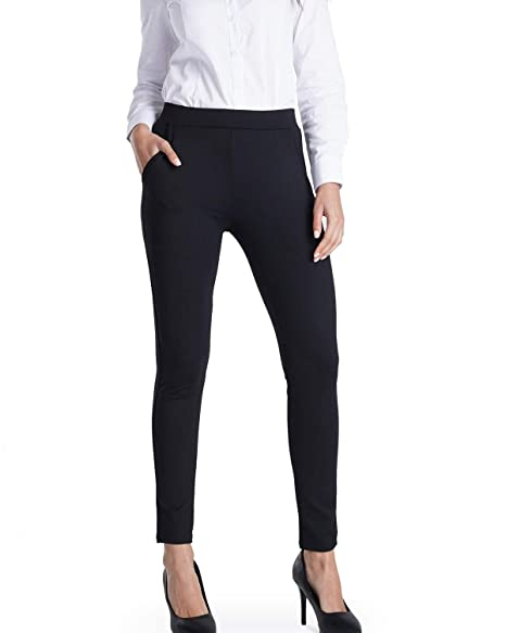 Harsmile Women\'s Yoga Dress Pants with Pockets Skinny Slim Fit Workout Yoga  Leggings Stretch High Waist Office Work Pants