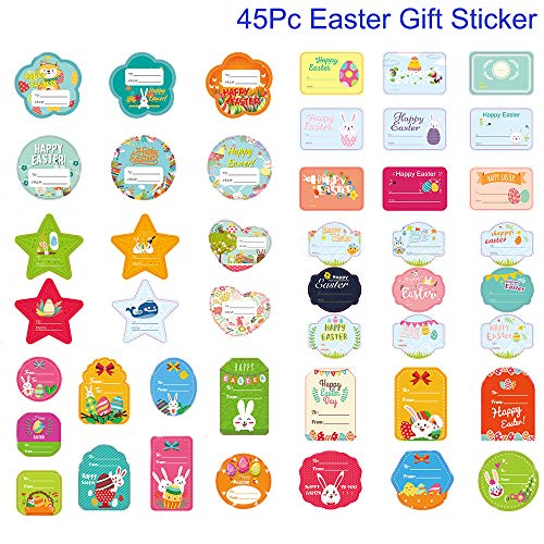 Easter Gift Stickers for Presents Many Different Unique Cute Easter Bunny Chick Sealing Stickers Designs and 45Pc Easter Themed Stickers with Self-adhesive Easter DIY Decorative for Easter Party Decor