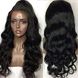 8A Brazilian Virgin Lace Front Wigs for black women human hair 130% Density natural black Color glueless body wave human hair wigs for African Americans with Baby Hair Pre Plucked Hairline 12-24 inch