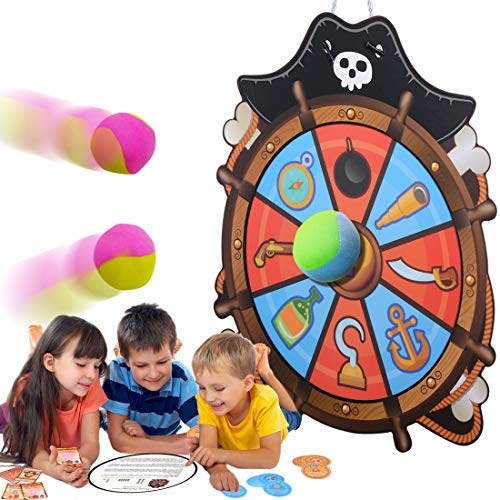 (WEY&FLY Sticky Dartboard, Novelty Fabric Pirate Rudder Kids Dart Board Ball Board Game with 4 Soft Balls, Safe for Toddler Fun for Adults)