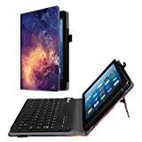 Fintie Folio Keyboard Case for All-New Amazon Fire HD 8 (7th and 8th Gen, 2017 and 2018 Releases), PU Leather Stand Cover with All-ABS Hard Material Removable Wireless Bluetooth Keyboard, Galaxy