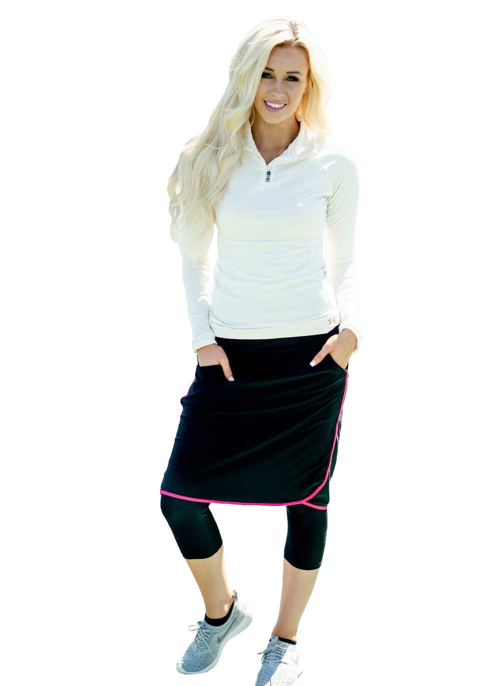 Ella Mae Sports Skirt for Women: Knee-Length Workout Skirt w/Attached Leggings Pink