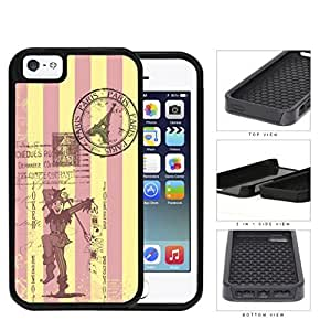 Pastel Pink & Yellow Stripes with Joker Card & Paris Stamp Postcard iPhone 5 5s 2-piece Dual Layer High Impact Black Silicone Cover