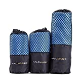 HaloMagic Microfiber Towel, Drying Fast Towels for Travel, Sports, Camping, Golf, Yoga, Beach and Bath, Highly Absorbent with Mesh Carry Bag