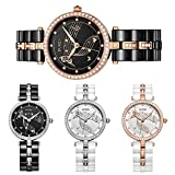 BUREI Womens Stylish Quartz Watches with Pretty Face Diamond bezel Mineral Crystal Ceramic strap